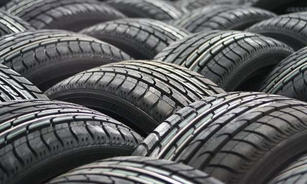 The tops of tires scattered in a jumble.