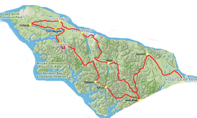 A map of the north of Vancouver Island with a red line highlighting where the North Island 1000 will travel through.