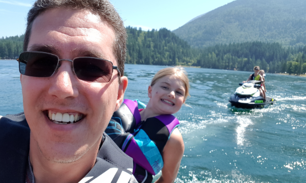 Paul Bain puts an emphasis on safety when Sea-Dooing with children.