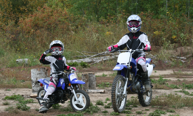 (L to R) Chloe and Avery MacLeod are the daughters of High Level Motocross Association president Chris MacLeod.