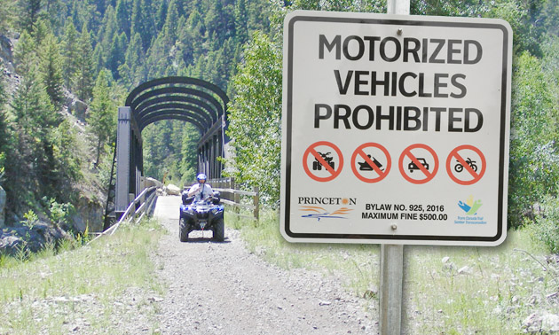 A sign prohibiting motorized vehicles