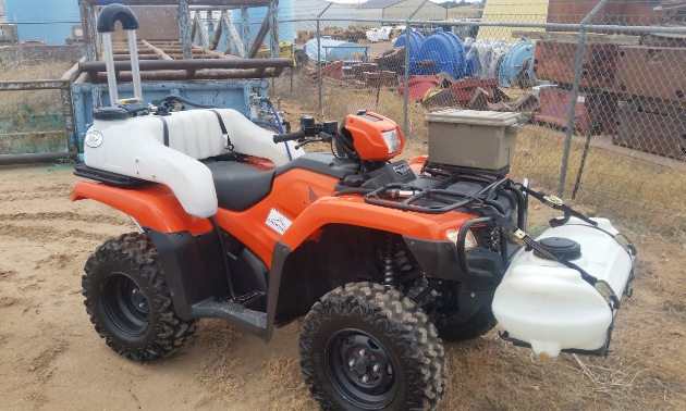 The Quadbar is on display on an ATV