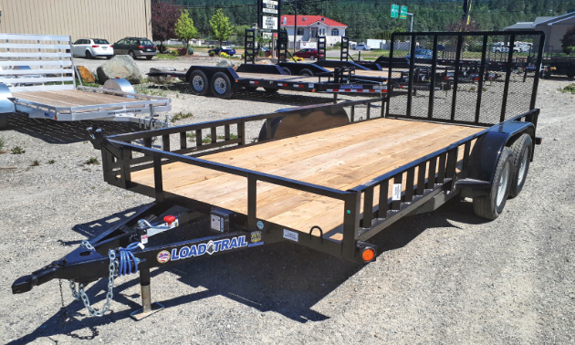 A trailer sits in the parking lot of Diamond West Trailer Sales