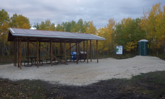 The Woodroyd staging area and picnic site is located at the north end of the Interlake Pioneer Trail.