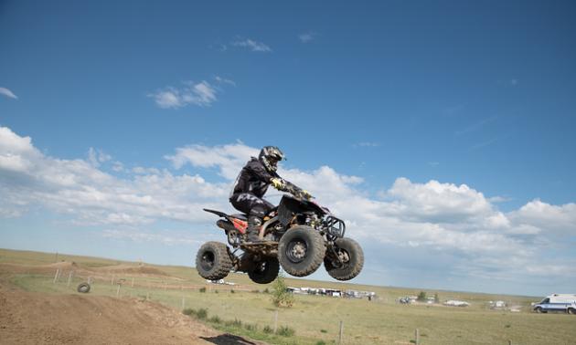Jason Stapleton rides over a jump