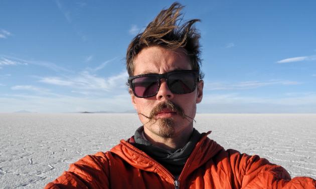 Kevin Chow snaps a selfie in Salar de Uyuni, Bolivia.