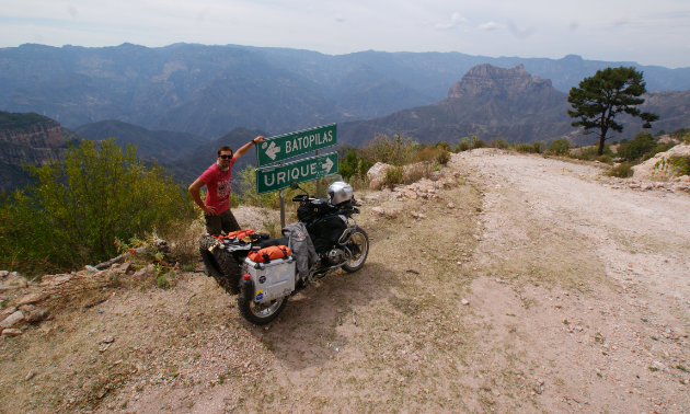 Kevin Chow takes in the sights on the road between Batopilas and Urique, Mexico.