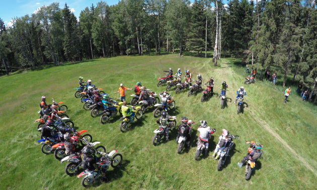 A group of riders prepare for a race