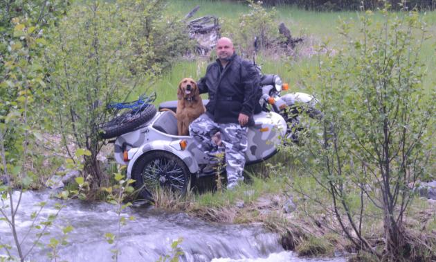 Shawn Dergousoff and his dog Wilma.
