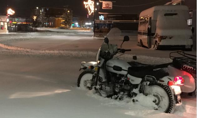 Dergousoff's 2010 Ural Patrol  sits in the snow
