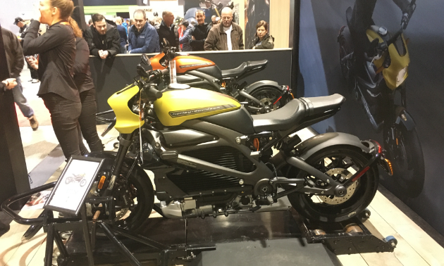 2020 Harley-Davidson Livewire. They're sitting on dynos so people could test them out. There was a lineup of riders waiting to try them out.