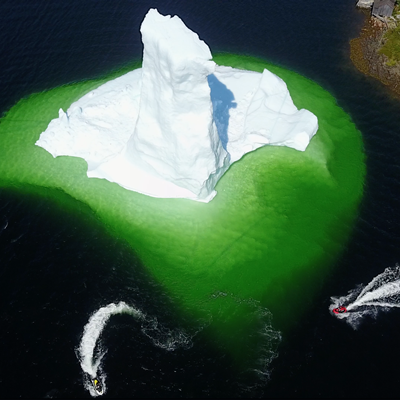 an aerial view of the icebergs in Newfoundland.