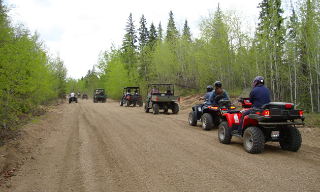 A group of ATVers head down the Iron Horse Trail near St. Paul, Alberta.