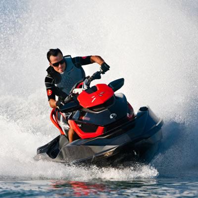 Picture of rider on jetski.