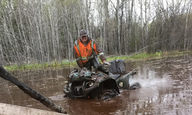 Some club members love to ride in the swampy areas around Big River. The more mud, the better!