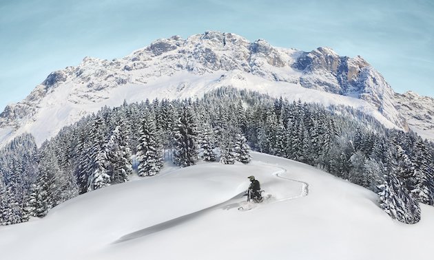 The Camso DTS 129 provides new heights of mobility and access in deep snow conditions that would otherwise be impossible with a conventional motorcycle.
