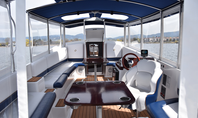 The blue and white interior of the Templar Cruiser will accommodate 15 people