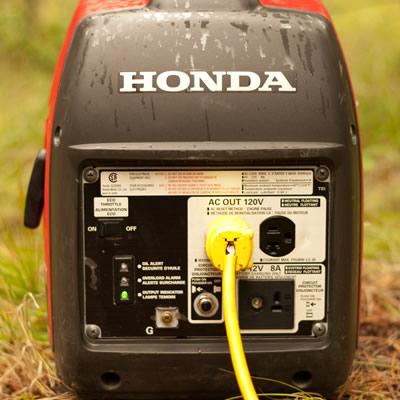Close-up of Honda generator