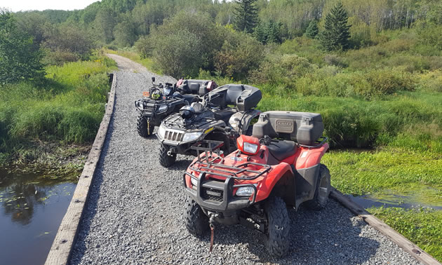 The quads on the trail to Canwood Forest.