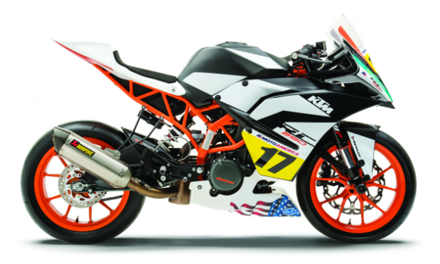 A side view of the 2017 KTM RC Cup Racebike
