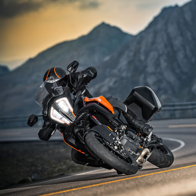 Picture of the 2018 KTM 1290 Super Adventure S on a road.