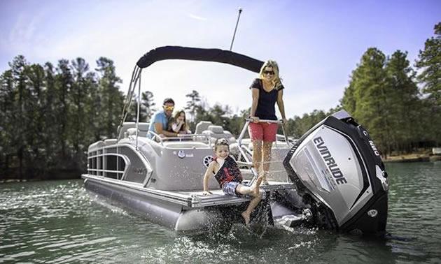Family on a pontoon boat.