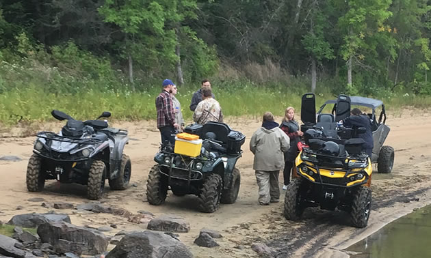 Members of Nopiming 4 Lakes 4 Wheelers are exploring and enjoying nature in the provincial park on their quads.