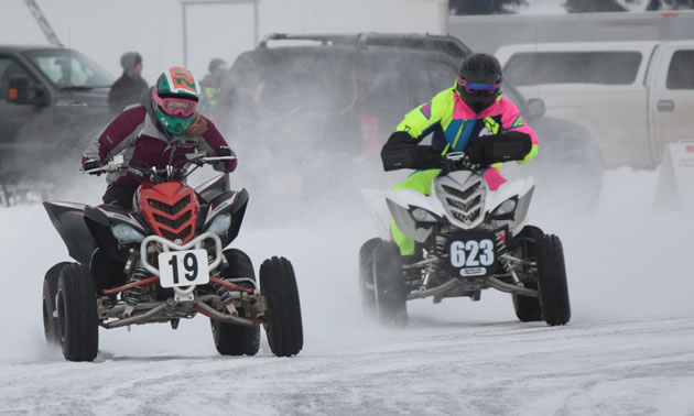 Quads don't need ice tires to race. They don't get up to speeds as high as the bikes.