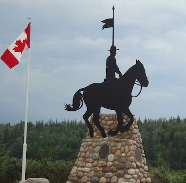 RCMP Monument commemorating the 1874 trek of the Mounties.