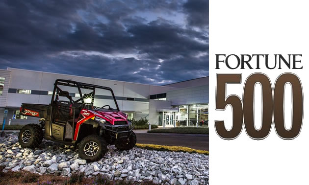 Polaris Off-road vehicle, with Fortune 500 logo.