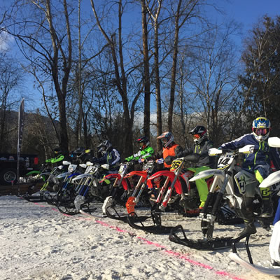 The starting lineup of the first round of the Canadian Snow Bike Championships.