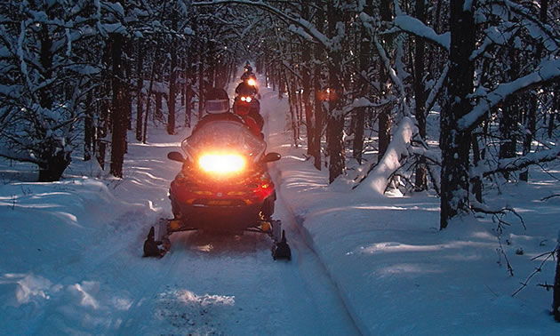 A beautiful evening snowmobile ride