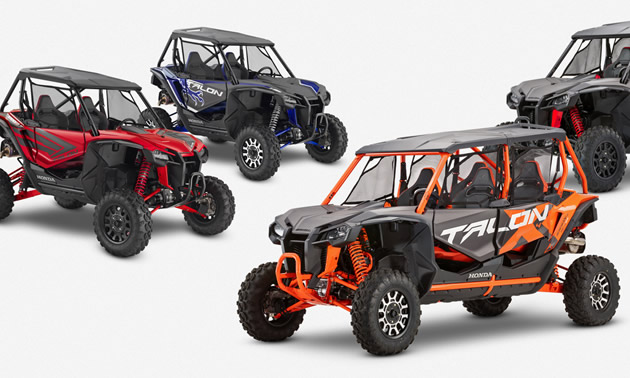 The Honda Talon 1000X-4 and Talon 1000X-4 FOX Live Valve, both four-seat sport side-by-side models, will be added to the growing Talon family of ATVs.