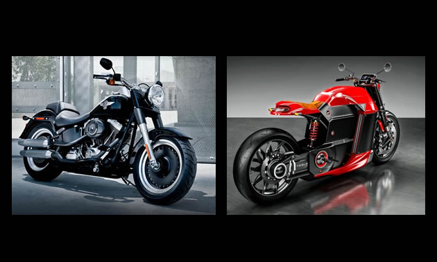 Picture of a Harley-Davidson Fat Boy motorcycle, and a prototype Model M Tesla motorcycle.