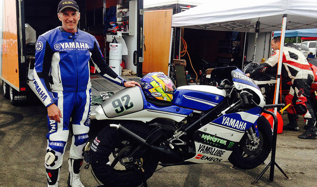Tom Ostrem with his Yamaha TZ250 road racing bike.