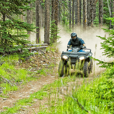 ATV rider on trail in forest.