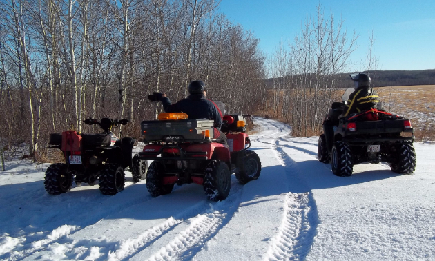 ATV riders riding in the snow between Two Hills and Cold Lake