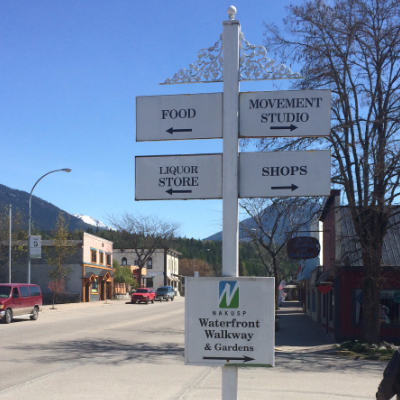 Quaint street sign in Nakusp