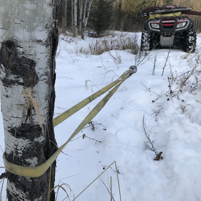 This Warn strap protects the bark on trees when winching.