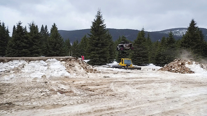 Al McBeth snow jumping a Polaris RZR in B.C.