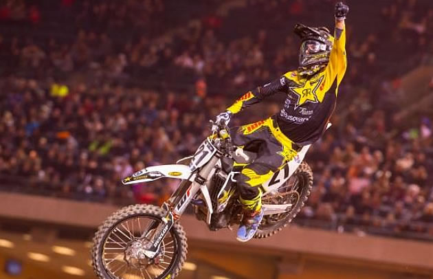 Jason Anderson flying high on his Huqvarna at Anaheim.