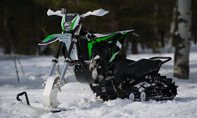The new Arctic Cat SVX 450 snow bike.
