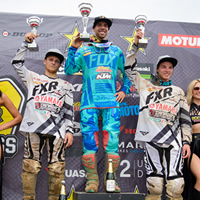 Kaven Benoit on the top step of the podium at Gopher Dunes.