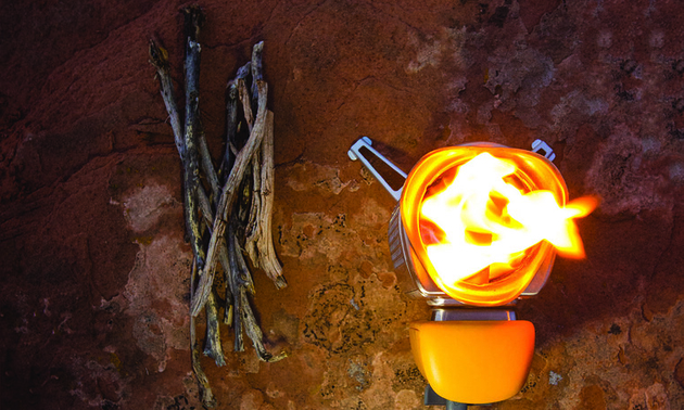 Biolite stoves burn biomass: sticks, wood chips, pinecones and, in a pinch, cow-patties. Photo courtesy Biolite