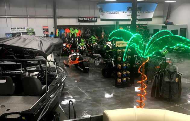 The interior/showroom of BOS Motorsports.