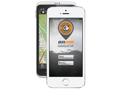 An iPhone with the BRMB Navigator app.