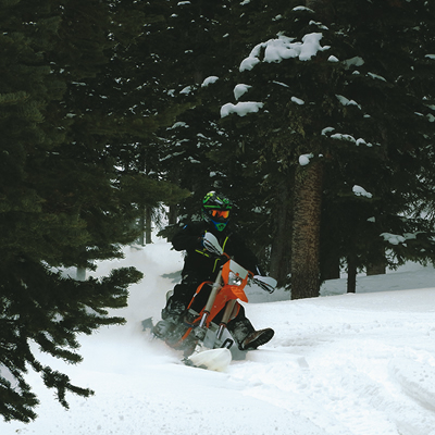 A dirt bike conversion in action.