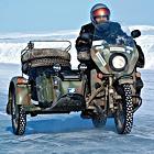 Kolenc on his Russian army sidecar bike