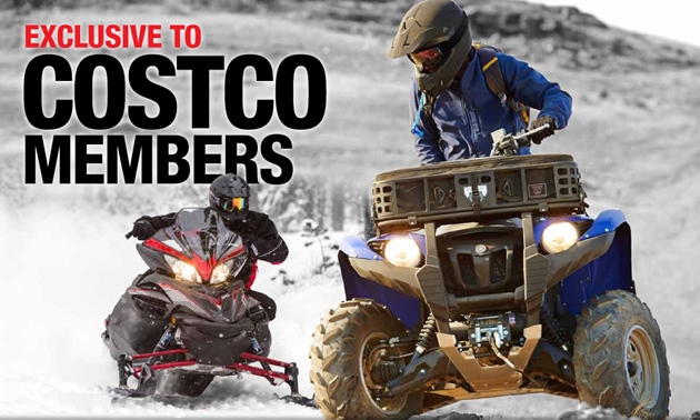 Costco promotional ad showing ATV and snowmobile riders