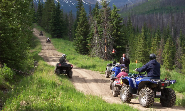ATVers on a well worn trail in the Crowsnest Pass.